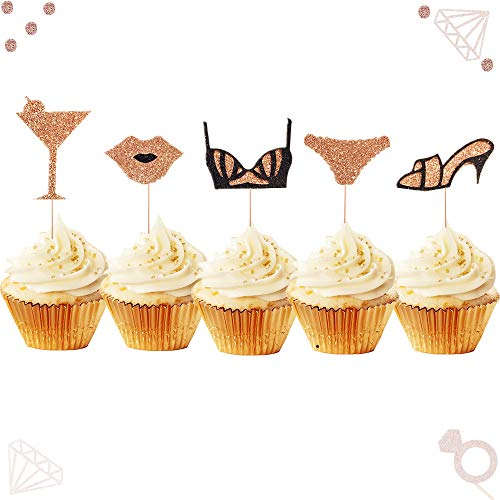 JeVenis Set of 25 Rose Gold Bachelorette Party Cupcake Toppers Lingerie Cupcake Toppers Hen Party Cupcake Toppers Bachelorette Cake Topper Bra Cupcake Topper Bridal Shower Cupcake Toppers