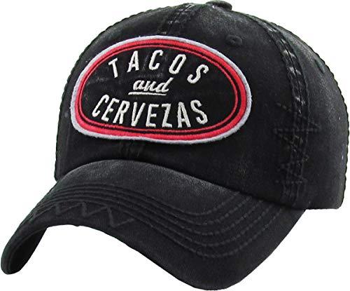 (Funky Junque BHM-205-TAC-06 - Mens Baseball Cap - Tacos & Cervesas - Black)