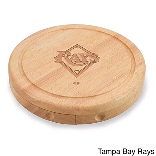 (1 Piece MLB Tampa Bay Rays Brie Cheese Board Set Wooden, Florida Ray Team Logo Professional Baseball Themed Serving Tray, TB Cutting Board Platter Round Natural Beige, Wood)