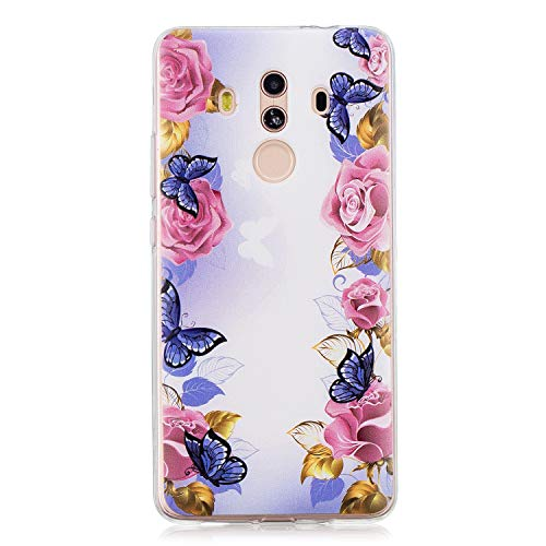 Flower Butterfly Case for Huawei Mate 10 Pro, Cute Cartoon Slim Fit Scratch Resistant Floral Printed Clear Back Design Hybrid Soft TPU Silicone Gel Bumper Shockproof Protective Cover (Blue Pink)