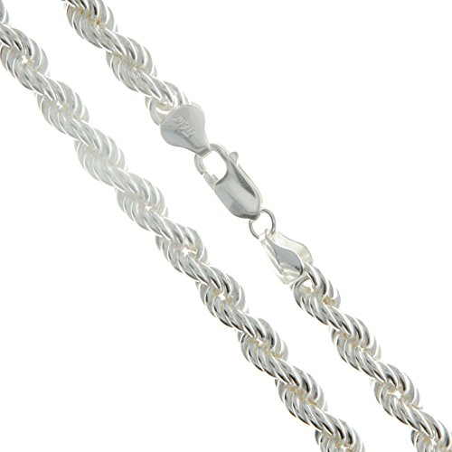 - Sterling Silver Hollow Spiral Rope Chain 6mm Pure 925 Italy New Men's Wide Necklace 30