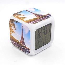 "BoWay 3""Desk & Shelf Clock Paris Eiffel Tower Digital Alarm Clock with Led Lights Blue Table Clock for Kids Teenagers Adults Home/Office Decor"