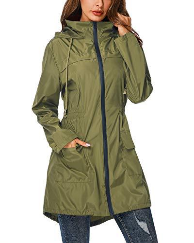 (ZEGOLO Rain Jacket Windbreaker Women's Lightweight Waterproof Raincoats Packable Active Hooded Trench Coats Army Green Small)