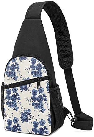 水墨画 花 斜め掛け ボディ肩掛け ショルダーバッグ ワンショルダーバッグ メンズ 多機能レジャーバックパック 軽量 大容量