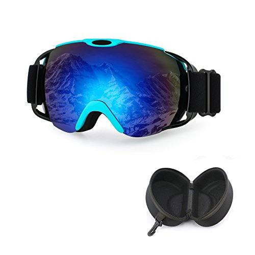 Case Snowboard - iTavah OTG Ski Goggles with Case, Men Women & Youth Over Glasses Goggles for Snowmobile/Snowboard/Skiing Snow Outdoor Sports,100% UV Protection, Anti-Fog (Blue)
