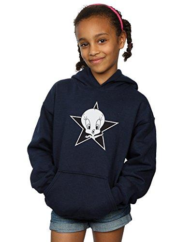 (Looney Tunes Girls Tweety Pie Mono Star Hoodie 12-13 Years Navy Blue)