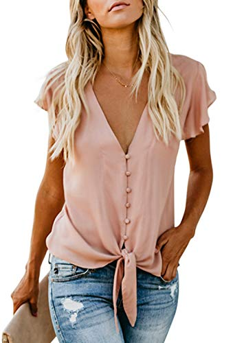 Shawhuwa Womens Loose Fitting Blouse Short Sleeve Sexy Deep V Neck Button Down T Shirts Tie Front Knot Casual Tops Pink L