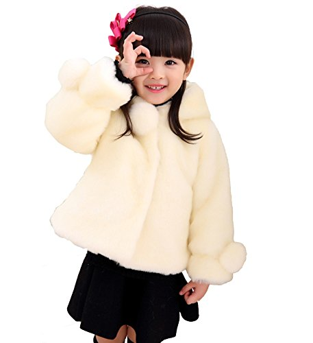 Gaorui Girls Faux Fur Jacket Hooded Cloak Coat Thick Warm Winter Outerwear Princess Cape For 1-8 Years Kids