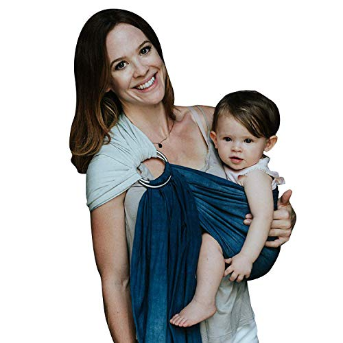 Nalakai Luxury Ring Sling Baby Carrier - Extra-Soft Bamboo and Linen Fabric - Lightweight wrap - for Newborns, Infants and Toddlers - Perfect Baby Shower Gift - Nursing Cover (Ocean Tide)