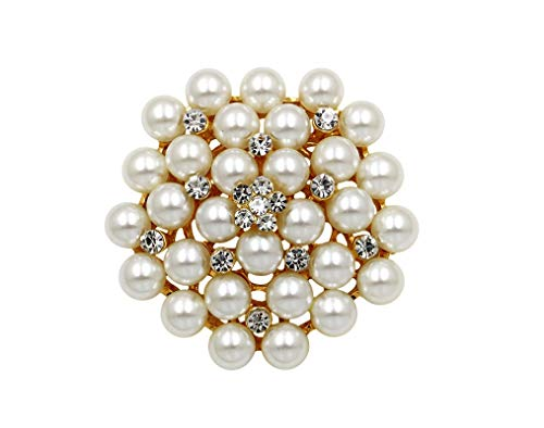 COLORFUL BLING Elegant Imitation Pearl Floral Crystal Brooch Pin for Wedding Bridal Fashion Jewelry-Gold
