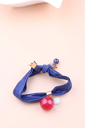 Band Candle Holder - Korean Jewelry Hair Accessories Hair Ring Elastic Rope Ponytail Holder Hair Rope Rope Rubber Band Hair Band Ponytail Holder Unique Leather Headdress (Candle Blue Ribbon tousheng