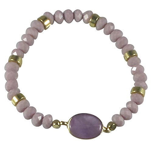 [Dragonfly Spirit Designs Stretch Bracelet Handcrafted Glass Beads Natural Stone (Lavender)] (Glass Lightweight Bracelet)