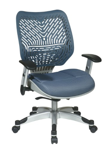 SPACE Seating REVV Self Adjusting SpaceFlex Blue Mist Backrest Support and Padded Blue Mist Mesh Seat with Adjustable Arms and Platinum Finish Base Managers Chair by Space Seating