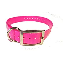 "1"" Square Buckle Neon Pink High Flex Waterproof, Replacement Strap For Garmin, Dogtra, E Collar, PetSafe, SportDOG Systems, (1"" W x 30"" L, Pink)"