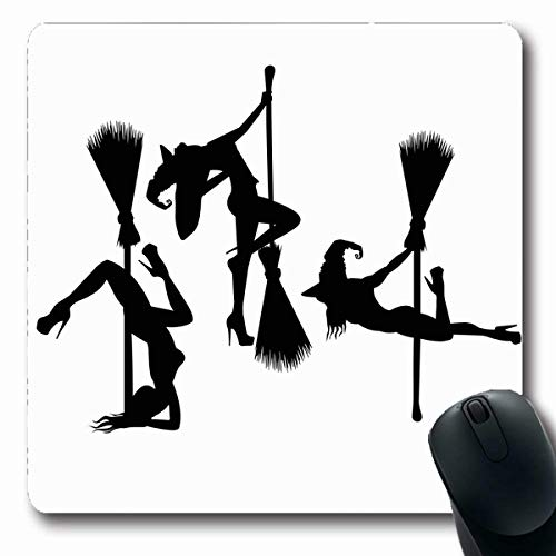 VivYES Gaming Mousepad Custom Dark Animation Witches Witch Hat Holidays Character Sexy Autumn Black Design Oblong Shape 7.9 x 9.5 Inches Rectangle Non-Slip Rubber Mouse Pads