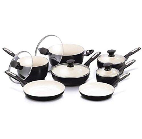 Hermes2shop 12pc Ceramic Non-Stick Cookware Set, Black