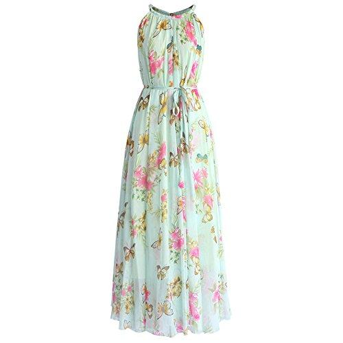 Aquarelle Fleur Des Femmes Chicwish Violette / Rose / Violet / Bleu / Vert / Menthe Slip Maxi Robe En Mousseline De Soie Florale De Menthe