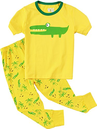girls-boys-pajamas-crocodile-2-piece-cotton-sleep-clothes-children-pant-sets-yellow-4t