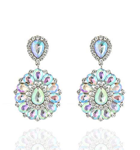 SP Sophia Collection Women's Bohemian Crystal Teardrop Dangle Clip On Earrings in Silver Iridescent
