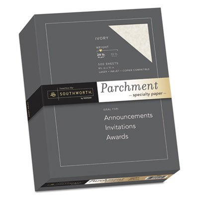 Parchment Specialty Paper, Ivory, 24lb, 8 1/2 x 11, 500 Sheets Southworth Company Agawam MA