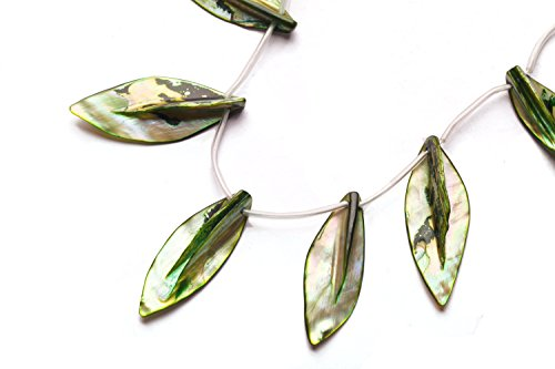 - Forest Green Mother-Of-Pearl Top Drilled Leaf Shell Beads Size:45x20mm