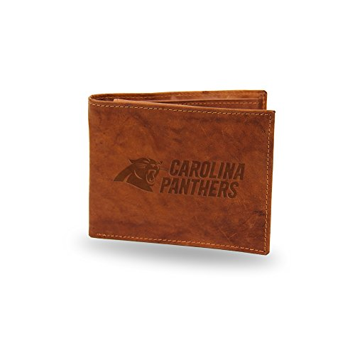 Rico Industries NFL Carolina Panthers Embossed Genuine Leather Billfold Wallet, Tan, 4.5-inch x ()