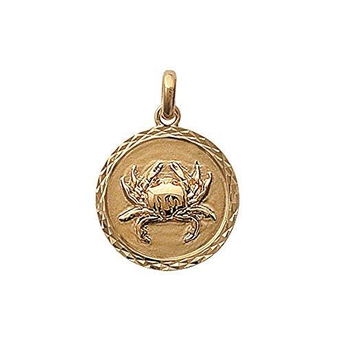 Pendentif Médaille en Plaqué Or Cancer - Bijoux Unisexe Signe Astrologique Zodiaque