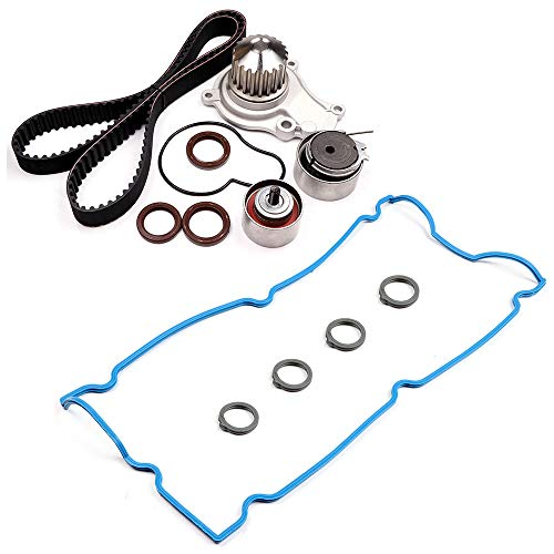 OCPTY Timing Belt Tensioner Bearing Water Pump with Gasket Complete Timing Valve Cover Gaskets Kit Fit 2004-2006 Dodge Stratus 2.4L X