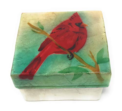 Kubla Craft Cardinal Capiz Shell Keepsake Box, 3 Inches Square