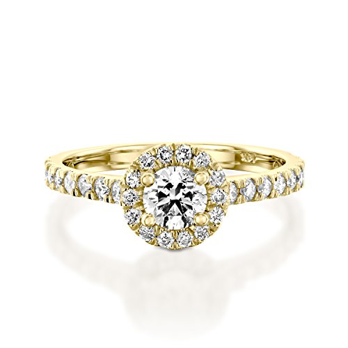 1 CT Diamond Ring Round Cut Classic Solitaire Setting with Sidestones L-M/I1-I2 in 14K Yellow Gold - IGI Certified