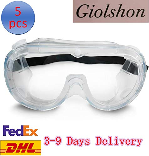 Giolshon 5 Pcs Safety Goggles Personal Protective Equipment,Clear Polycarbonate Standard Safety Glasses Dust-Proof Wind…
