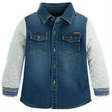 Mayoral boys denim quilted button up shirt