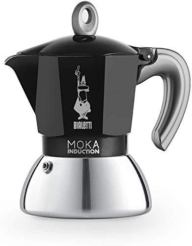 Bialetti New Moka Induction, Cafetera apta para inducción, 2 tazas, aluminio, Negro