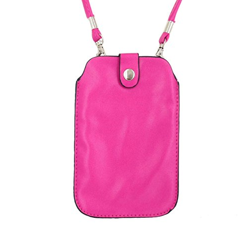 Leather Neck Pouch for iPhone 8 Plus, 7 Plus & other smartphones (Style 3) - Pink