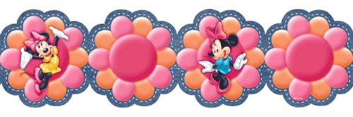 Blue Mountain Wallcoverings DF129912DFP Minnie Funky Flowers Denim Prepasted Die Cut Wall Border (Die Cut Wall Border)