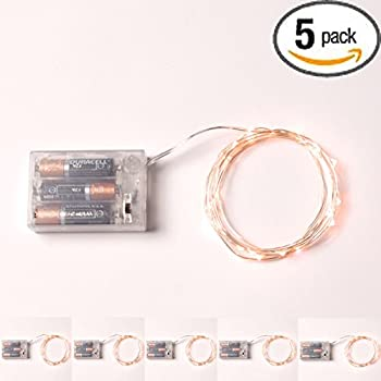 5 Sets RTGS 20 Warm White Color Micro LED String Lights Battery Operated on 7 Feet Silver Color Wire