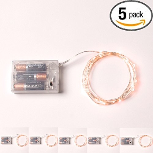 RTGS 20 Warm White Color Micro LED String Lights Battery Operated on 7.5 Feet Silver Wire (5)