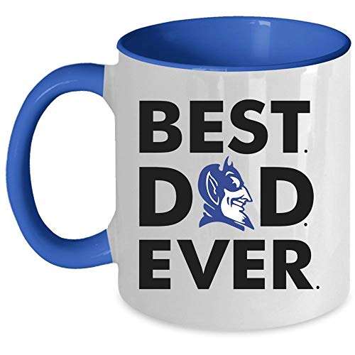 Best Dad Ever Coffee Mug, Duke Blue Devil Logo Accent Mug, Unique Gift Idea for Women (Accent Mug - Blue)