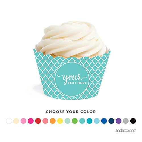 Andaz Press Fully Personalized Collection, Cupcake Wrapper, 20-Pack, Custom Text or Logo -