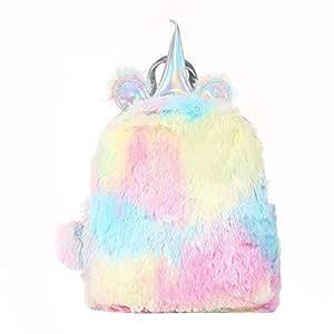 Fluffy Unicorn Backpack, Dokfin Cute Soft Rainbow Bookbags, Mini Plush Unicorn Backpack For Women Sweet Girls Toddler Daughter