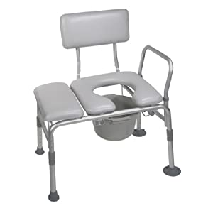 Drive Medical Combination Padded Seat Transfer Bench with Commode Opening, Gray