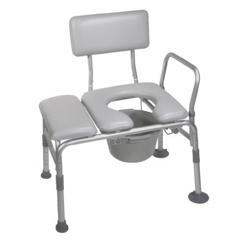 Exposed Shower Column - Drive Medical Combination Padded Seat Transfer Bench with Commode Opening, Gray