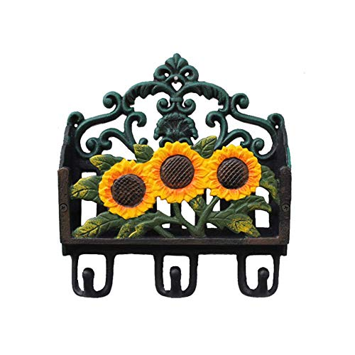 Sungmor Colorful Garden Heavy Duty Cast Iron Organizer,Wall Hooks,Decorative Hangers,Letter Magazine Newspaper Holder,Lovely Sunflower Painting Antique Wall Decoration from Sungmor