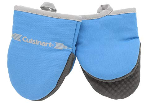 Cuisinart Neoprene Mini Oven Mitts, 2 Pack - Heat Resistant Gloves to Protect Hands & Surfaces w/ Non-Slip Grip & Hanging Loop -Ideal Set for Handling Hot Cookware/Bakeware Items - Heritage Blue