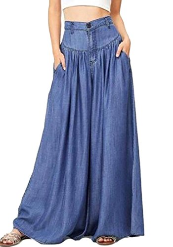 BYWX Women's Stretch Cotton High Waist Wide Leg Loose Denim Pants Blue US 3XL