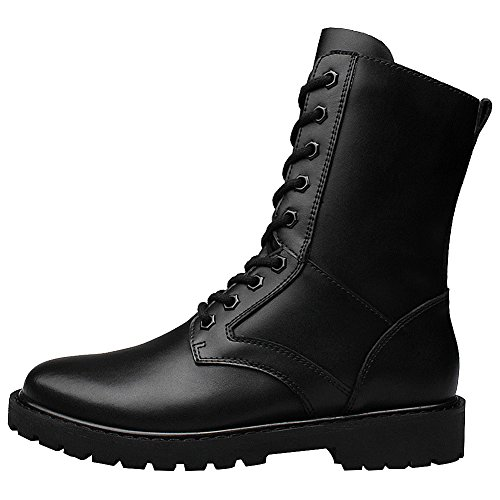 Jamron Men's Minimalistic Black Leather Mid-Calf Boots Flat Non-Slip Military Combat Boots Warm Lining