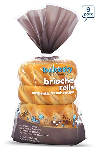 bakerly Brioche Rolls Pack of 9, 8-Count (72 Total Brioche Rolls)