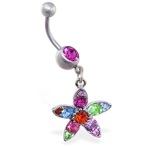 MsPiercing Belly Ring With Dangling Multicolored Flower, Pink - With Multicolored Flower