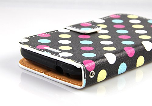RANZ® Samsung Galaxy Avant G386 Case, Stylish Design Deluxe PU Leather Folio Flip Book Wallet Pouch Case Cover (Colorful Polka Dot) For Samsung Galaxy Avant G386 (T-Mobile) with Touch Stylus
