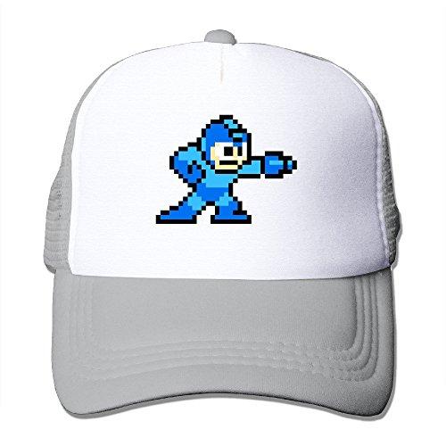 [Cool Mega Man Trucker Cap Baseball Hat (5 Colors) Ash] (Megaman Hat)